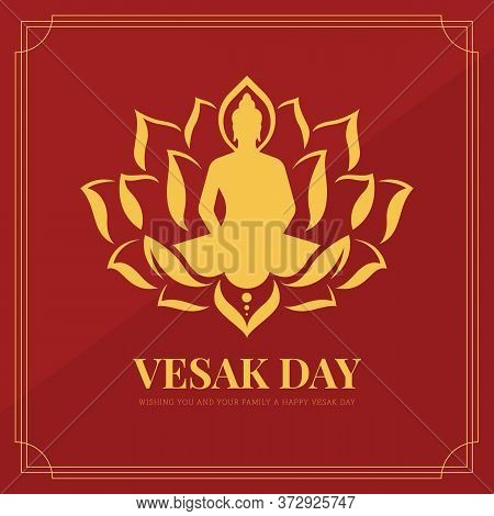 Vesak Day Banner With Gold The Lord Buddha In Lotus Sign On Red Background Vector Design