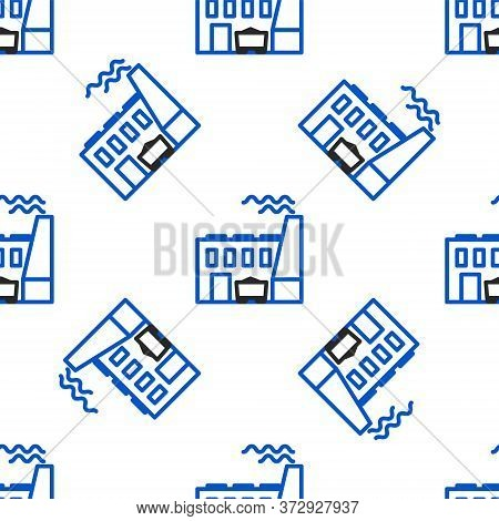 Line Coal Power Plant And Factory Icon Isolated Seamless Pattern On White Background. Energy Industr