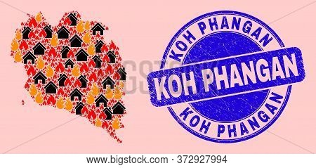 Fire Disaster And Property Composition Koh Phangan Map And Koh Phangan Rubber Stamp Print. Vector Co