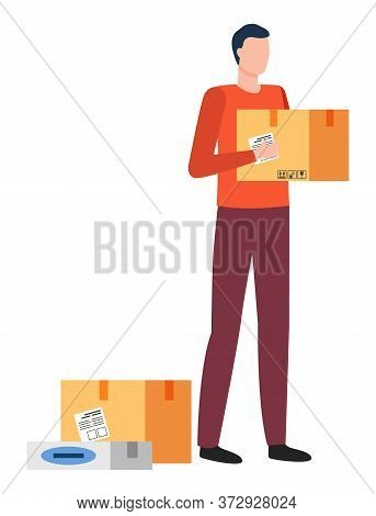 Man Holding Carton Box In Hands. Male With Container Or Order Of Client. Isolated Personage Deliveri
