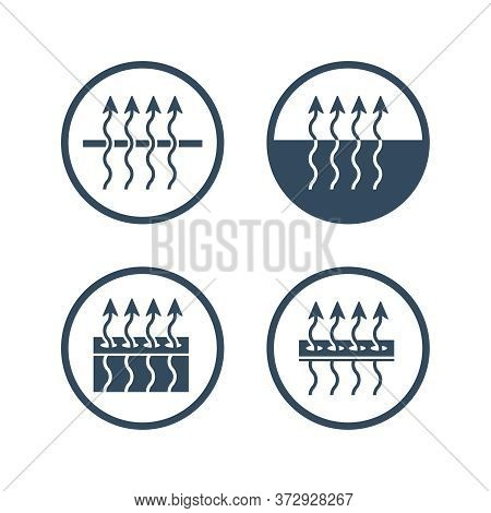 Breathable Textile Technology Label Icon For Fabric Membrane Material Marking - Vector Isolated Mono