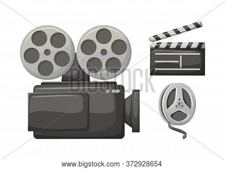 Movie Clapper, Retro Camera Filming Technology Vector, Isolated Icon Of Bobbin With Tape. Cinematogr