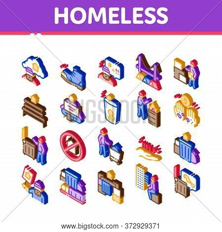Homeless Beggar People Icons Set Vector. Isometric Homelessness And Shoe, Living On Streets Poor Hum