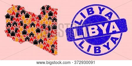 Fire Disaster And Property Collage Libya Map And Libya Rubber Stamp Seal. Vector Mosaic Libya Map Is