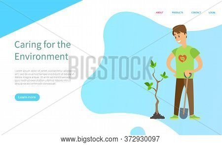 Caring For Environment, Man Holding Shovel And Planting Tree, Portrait View Of Man Gardening Plant,