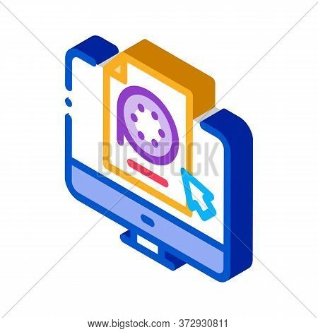 Selection Of Video Document On Computer Icon Vector. Isometric Selection Of Video Document On Comput