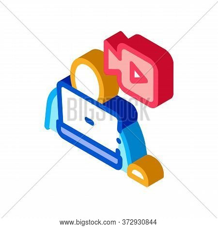 Video Operator Icon Vector. Isometric Video Operator Sign. Color Isolated Symbol Illustration