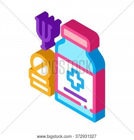 Medical Pills For Mental Disorder Icon Vector. Isometric Medical Pills For Mental Disorder Sign. Col