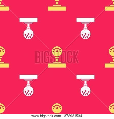 Yellow Gauge Scale Icon Isolated Seamless Pattern On Red Background. Satisfaction, Temperature, Mano