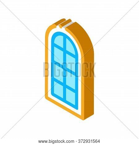 Arched Window Consisting Of Square Glasses Icon Vector. Isometric Arched Window Consisting Of Square