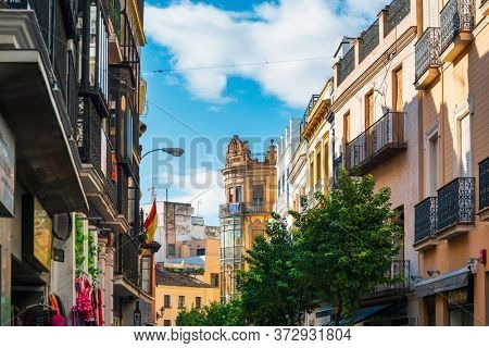 SEVILLA, SPAIN - January 13, 2018: Street view of downtown in Seville city, Spain