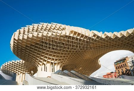 SEVILLA, SPAIN - January 13, 2018: Metropol Parasol is a wooden structure located at La Encarnacion square, in the old quarter of Seville, Spain
