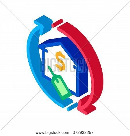 Repeat Home Financing Percentage Icon Vector. Isometric Repeat Home Financing Percentage Sign. Color