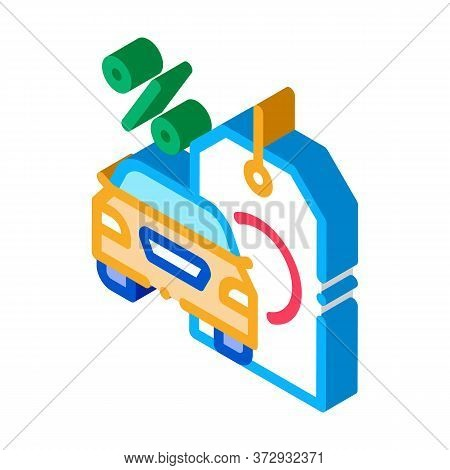Car Purchase At Interest Icon Vector. Isometric Car Purchase At Interest Sign. Color Isolated Symbol