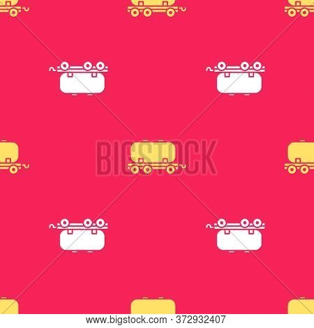 Yellow Oil Railway Cistern Icon Isolated Seamless Pattern On Red Background. Train Oil Tank On Railw