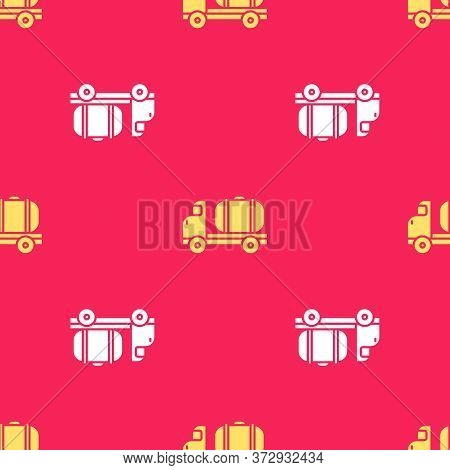 Yellow Tanker Truck Icon Isolated Seamless Pattern On Red Background. Petroleum Tanker, Petrol Truck