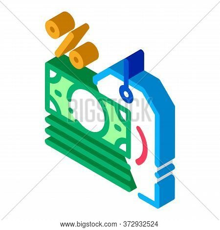 Interest Is Money Icon Vector. Isometric Interest Is Money Sign. Color Isolated Symbol Illustration