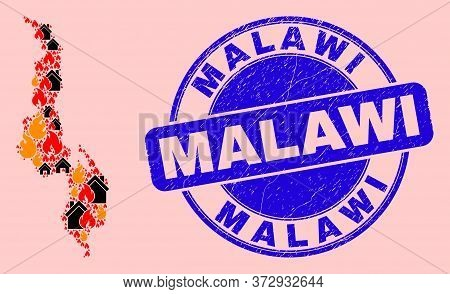 Fire Hazard And Buildings Collage Malawi Map And Malawi Grunge Stamp Seal. Vector Collage Malawi Map
