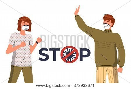 Young Man And Woman Wearing Respiratory Medical Masks Against World Epidemy. Stop And Fight Spreadin