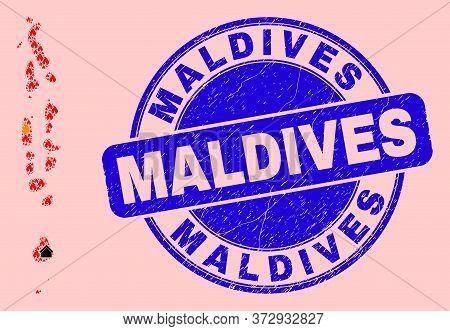 Fire Hazard And Buildings Combination Maldives Map And Maldives Textured Stamp. Vector Collage Maldi
