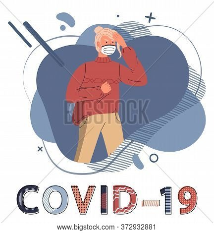 Young Blonde Woman Wearing Face Medical Mask Protesting Against Spreading Covid-19. Blue Abstract Ve