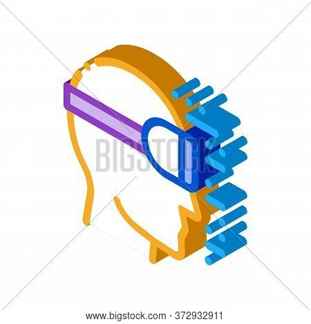 Projecting Reality Through Special Glasses Icon Vector. Isometric Projecting Reality Through Special