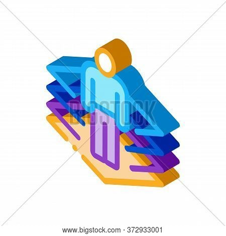 Transfer Of Man Into Virtuality Icon Vector. Isometric Transfer Of Man Into Virtuality Sign. Color I