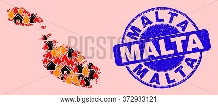 Fire Hazard And Houses Collage Malta Map And Malta Unclean Watermark. Vector Mosaic Malta Map Is Mad