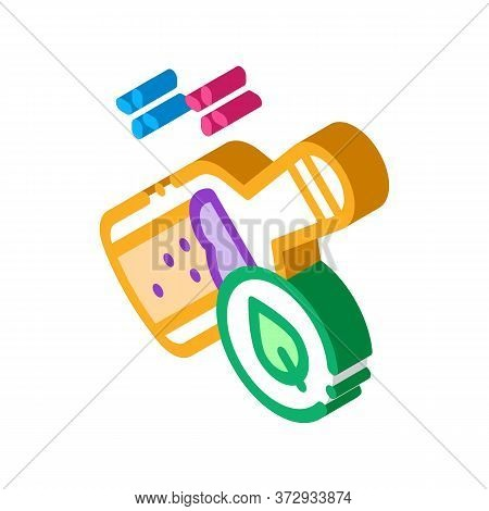 Bottle With Organic Elixir Icon Vector. Isometric Bottle With Organic Elixir Sign. Color Isolated Sy