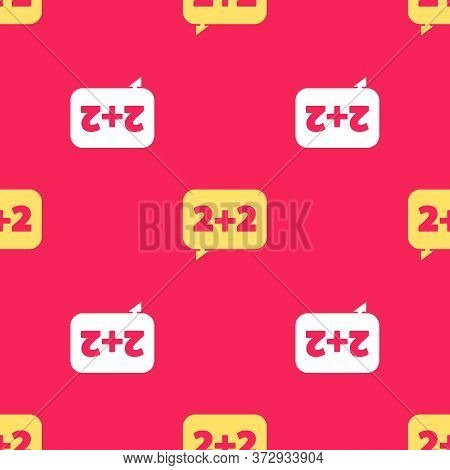 Yellow Math System Of Equation Solution On Speech Bubble Icon Isolated Seamless Pattern On Red Backg