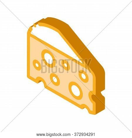 Coarse Triangular Cheese Bar Icon Vector. Isometric Coarse Triangular Cheese Bar Sign. Color Isolate