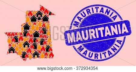 Fire And Houses Composition Mauritania Map And Mauritania Rubber Stamp Imitation. Vector Collage Mau