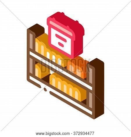 Cheese Shelf Counter Icon Vector. Isometric Cheese Shelf Counter Sign. Color Isolated Symbol Illustr