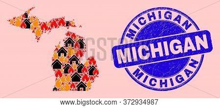 Fire Hazard And Homes Mosaic Michigan State Map And Michigan Grunge Seal. Vector Mosaic Michigan Sta