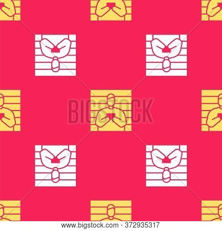 Yellow Suspect Criminal Icon Isolated Seamless Pattern On Red Background. The Criminal In Prison, Su