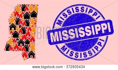 Fire Disaster And Realty Collage Mississippi State Map And Mississippi Grunge Watermark. Vector Coll