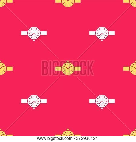 Yellow Wrist Watch Icon Isolated Seamless Pattern On Red Background. Wristwatch Icon. Vector Illustr
