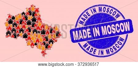 Fire Hazard And Homes Composition Moscow Region Map And Made In Moscow Dirty Stamp Print. Vector Col