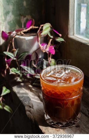 Ice Cold Brew Coffee Ready Served To The Customer At The Window Side In The Weekend Morning At The C