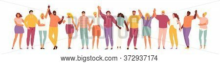 Group Of Smiling People Holding Hands. Multicultural And Social Unity, Friendship And Support. Vecto