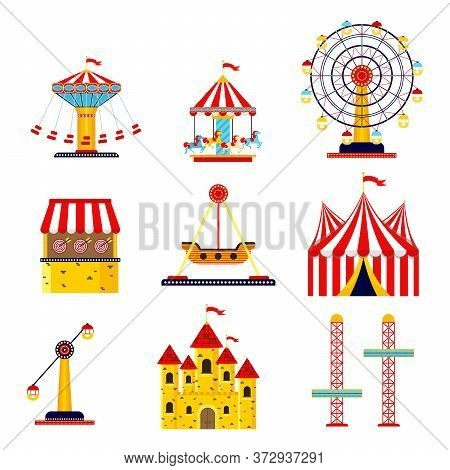 Amusement Park, Circus And Fun Fair Theme Set, With Roller Coasters, Carousels, Castle, Air Balloon.