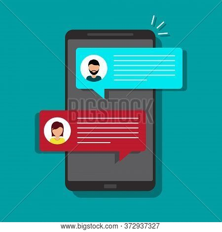 Sms Chat On Mobile Phone Screen. Chat Bubble In Cellphone. Message Notification Icon. Man Person Tal