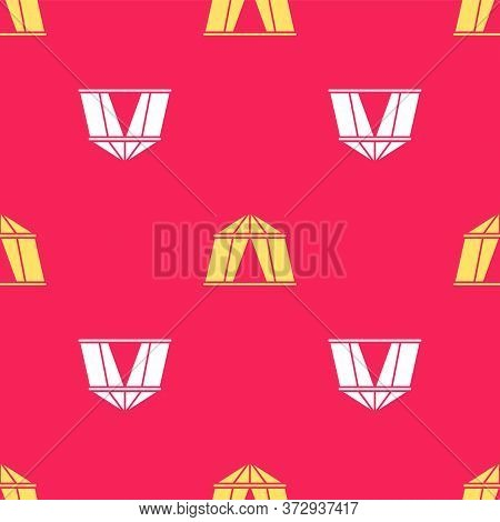 Yellow Circus Tent Icon Isolated Seamless Pattern On Red Background. Carnival Camping Tent. Amusemen
