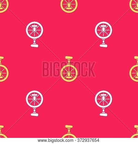 Yellow Unicycle Or One Wheel Bicycle Icon Isolated Seamless Pattern On Red Background. Monowheel Bic