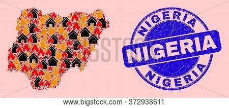 Fire Disaster And Buildings Mosaic Nigeria Map And Nigeria Corroded Stamp Seal. Vector Mosaic Nigeri