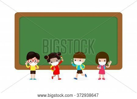 Back To School For New Normal Lifestyle Concept, Multicultural Pupils With Medical Masks Face Standi