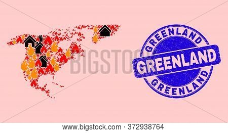 Fire And Houses Collage North America And Greenland Map And Greenland Dirty Stamp Imitation. Vector