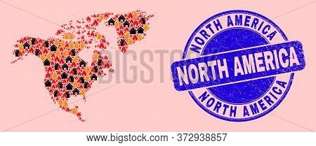 Fire Hazard And Houses Composition North America Map And North America Scratched Stamp. Vector Colla