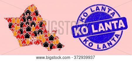 Fire Disaster And Realty Collage Oahu Island Map And Ko Lanta Scratched Stamp Imitation. Vector Coll