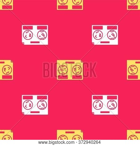 Yellow Celestial Map Of The Night Sky Icon Isolated Seamless Pattern On Red Background. Starry Hemis